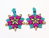 Beadwork SuperDuo Star Earrings - Pink, Turquoise & Gold